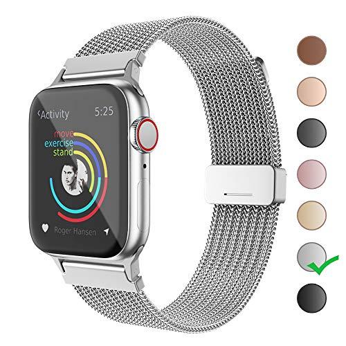 BRG コンパチブル apple watch バンド,ミラネーゼループ コンパチブルアップルウォッチ バンド コンパチブル アップルウォッチ4 コンパチブルapple watch series5/4/3/2/1に対応 ステンレス留め金製(42mm/44mm,シルバー)