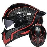 Adultos Casco Moto Integral,ECE Homologado Casco Integral De Moto Estilo Retro,Motocicleta Casco Protector Con Doble Visera Cara Completa Casco Modular Flip Up Ligero Casco C,L