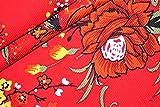 Cordstoff, tropisches Blumenmuster, Rot