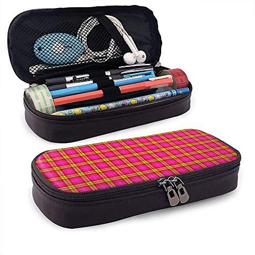 Plaid Checks étui à crayons en cuir, trousse de maquillage de voyage, boîte à étuis