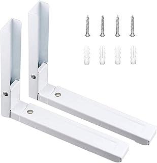 2 Pièces Acier Inoxydable Support Mural Micro Ondes,Supports Micro Ondes Blanc,Support Micro Ondes Pliable,Avec Des Vis As...