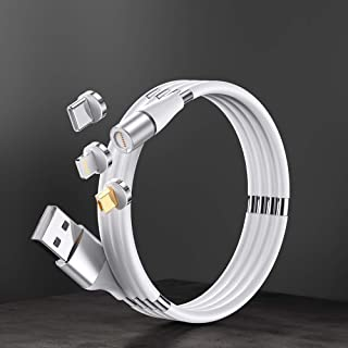 Easy Coil 3 in 1 magnetic - Charging & Data Cables, type C, micro USB, iPhone to USB A, with tip holder