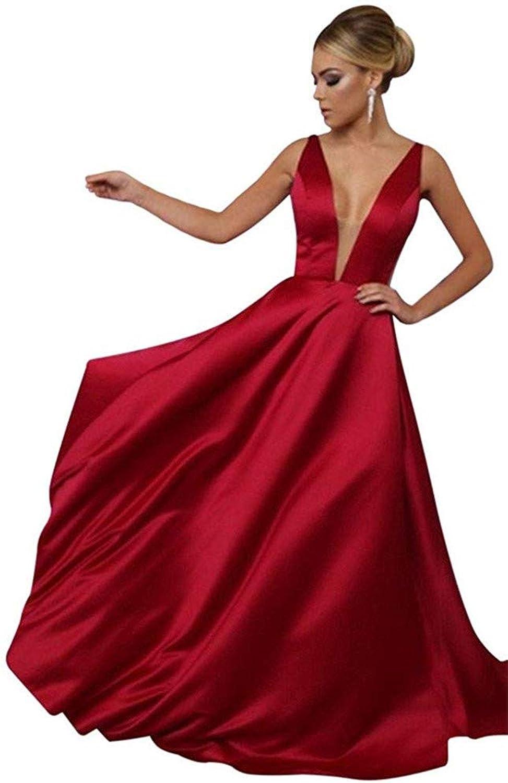CCBubble A Line Prom Dresses 2018 Deep V Neck Backless Prom Evening Dress