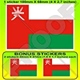 Oman omanischer Flagge Asien arabischen 10,2cm (100mm) Vinyl Bumper Aufkleber, Aufkleber X1+ 2Bonus