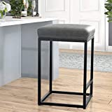 MAISON ARTS Counter Height Bar Stool for Kitchen Counter Backless Industrial Stool Modern Upholstered Barstool Countertop Chair Saddle Seat Island Stool with PU Leather, 1 Stool (24 Inch, Grey)