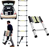 ROXTAK Mult-Purpose Telescopic Folding Ladder 2.6m/2.9m/3.2m/3.8m Aluminium Extension Ladder A-Frame/Straight Ladder, EN131 (2.6M)