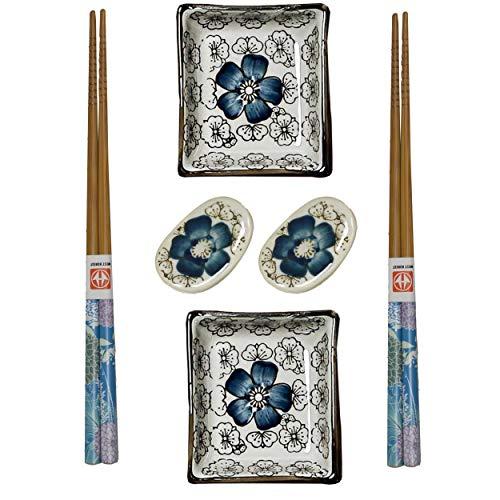 HOGAR Y MAS Sushi Kit 6 pcs Porcelana y Madera de Bambú, Diseño Floral/Oriental. Palillos Chinos y Acessorios. - Azul