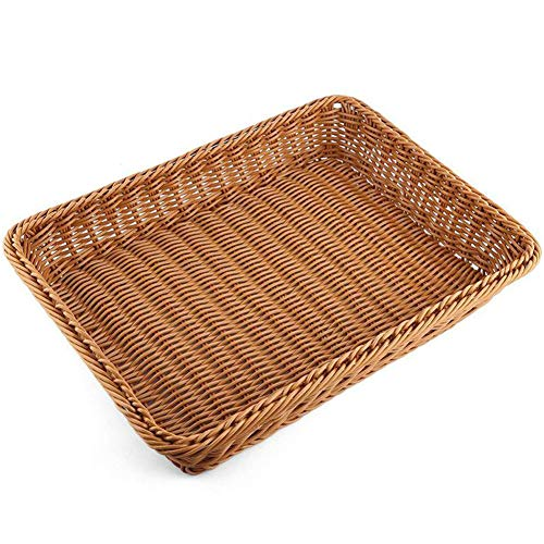 Rattan Bread Basket Woven Storage Basket Kitchen Wicker Bread Box Rattan Toys Storage Boxes Square Fruit Plate Trays Organizer Home Decor