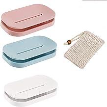 Queta Zeepbakje voor douchezeep, zeephouder met afvoer voor badkamerteller 3 gekleurde zeepbakjes met zachte, natuurlijke ...