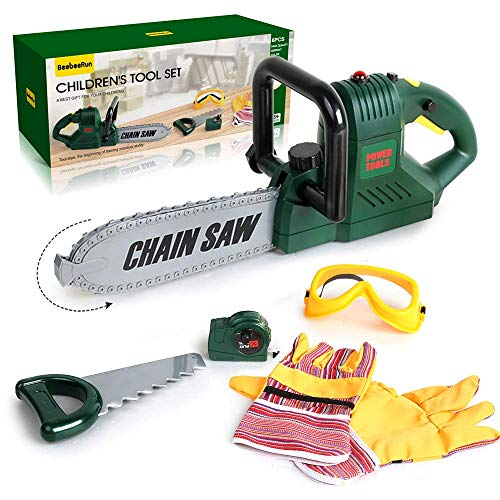 BeebeeRun 6 Pcs Kids Tool Set with Power Chainsaw, Pretend Play Tool Set with Measuring Tape and Hand Tools Accessories for 3 4 5 6 7 Years Old Boys Girls,Outdoor Lawn Tools Plastic Toy Chainsaw Set