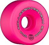 Rollerbones Team Logo 101A Recreational Roller Skate Wheels (Set of 8), Pink, 62mm
