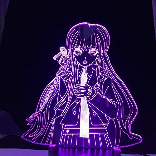 Lámpara de ilusión 3D Anime Waifu Taiga Aisaka Toradora Led Toradora Taiga Aisaka para decoración de dormitorio colorida noche-7_Color_No_Remote