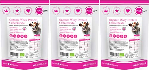 PINK SUN Organic Whey Protein Concentrate Powder Unflavoured 3kg (1kg x 3) Soy Free Grass Fed Gluten Free No Additives Vegetarian Undenatured Non GM Certified Bio UK