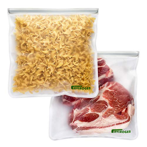 Envirogen Reusable Gallon Storage Bags (2 Pack - Leakproof) for Food, Extra Thick Resealable Food Storage Bags to Marinate Meats, Store Fruit, Cereal, Travel Items and Meal Prep