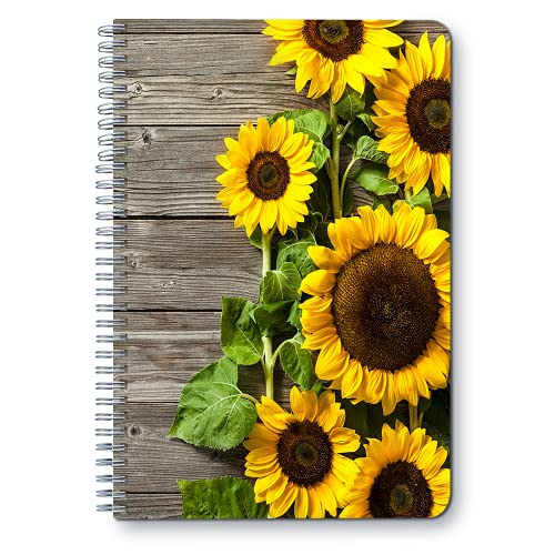 """Sunflower and Rustic wall - A5 Round Spiral Notebook - Ruled Notebook/Journal - Lined Journal - 5.83"""" X 8.27"""" Durable Books - College Ruled Spiral Notebook/Journal - Rough Draft Mini Spiral Notebook"""