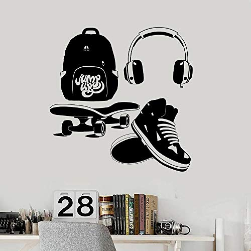 HGFDHG Creativo monopatín Auriculares Mochila Escolar Zapatillas de Deporte Pegatinas de Pared de Vinilo decoración de Dormitorio para niños y Adolescentes