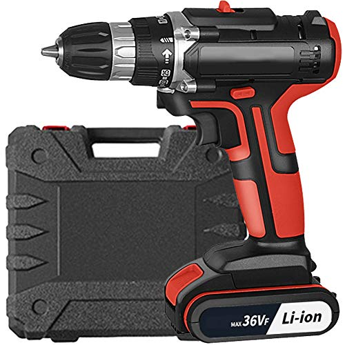 EastMetal Cordless Driver, Power Drill 25+1 Adjustable Rotation Speed and Quick Stop 36V Electric Screwdriver Battery and Charger Included 1800mAh Carry Box, for DIY, Drilling, Screwing