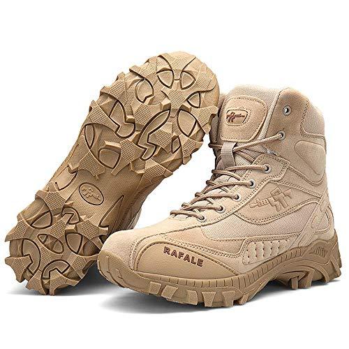 XIEZI en Plein Air Antidérapants Randonnée Chaussures De Randonnée Grande Taille Bottes Militaires Homme Commando Extérieur Haut-Top Desert Boots Beige- 41
