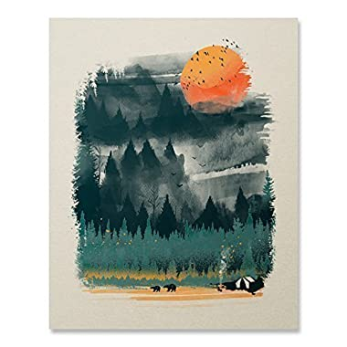 Wilderness Art Print Camping Tent Print Outdoor Nature Inspiration Poster Wilderness Wall Art Bear Print Hiking Forest Fire Home Decor 8 x 10 Inches