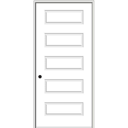 Prehung Interior Single Door Left Hand National Door Company ZZ365022L Solid Core 18 x 80 on 6-9//16 Jamb Molded 5-Panel MDF