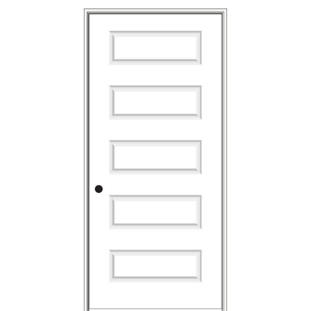 National Door Company ZZ09465R Solid Core Molded 5-Panel, Right Hand Prehung Interior Door, 30