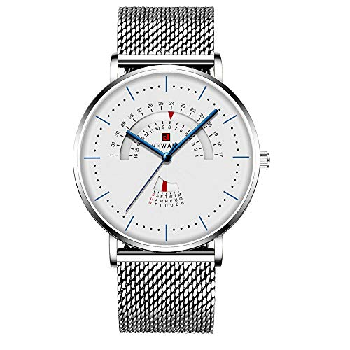 Relojes para Hombre Relojes de Cuarzo analógicos con Fecha Impermeable de Acero Inoxidable-D