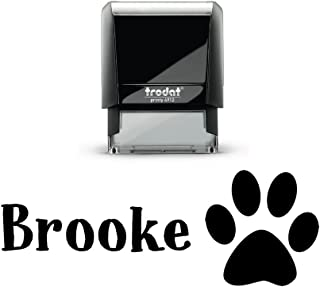 Customized Kids Self Inking Stamp. with a Paw Print Graphic. Sign Off Letters, Artwork School Work Black, Blue, Purple, Green or Red Ink! Size 3/4 x 1 7/8