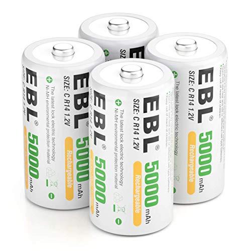EBL C Batería 5000 mAh - Batería recargable NI-MH paquete de 4 con caja de almacenamiento, batería tipo C