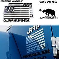 【カリフォルニアマッドスター/CALIFORNIA MUDSTAR】星条旗 アメリカ国旗 アメリカンフラッグ USフラッグ ステッカー 175x110ミリ 2枚入り デカール カーステッカー クロームシルバー FROM USA