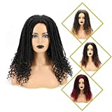 Reina 16 Inches Synthetic Dreadlock Crochet Hair Wigs for Black Women Ombre Braided Faux Locs Crochet Hair Wigs with Curly Ends Heat Resistant Afro Short Curly Daily Wig(16',1B)