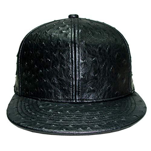 XUAN SUN Hip Hop Ostrich Faux Leather Snapback Baseball Cap Flat Brim Hat Unisex (Black)