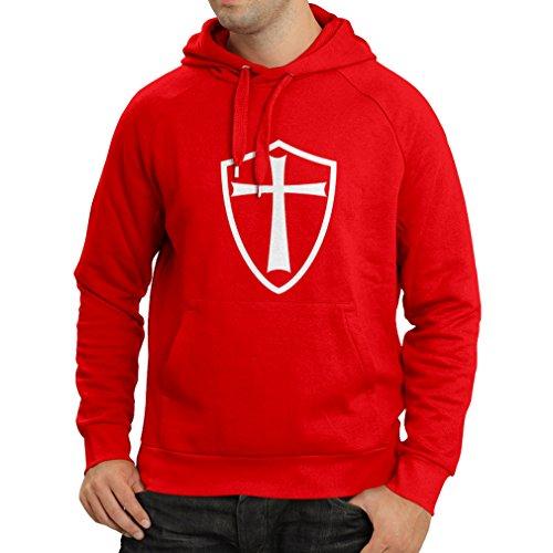 lepni.me Sudadera con Capucha Caballeros Templarios - Escudo de los Templarios (Large Rojo Blanco)