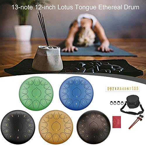 Steel Tongue Drum, 13 Noten 12 Zoll Pan Drum Percussion Steel Drum Instrument Lotus Hand Pan Drum mit Trommelschlägeln Tragetasche