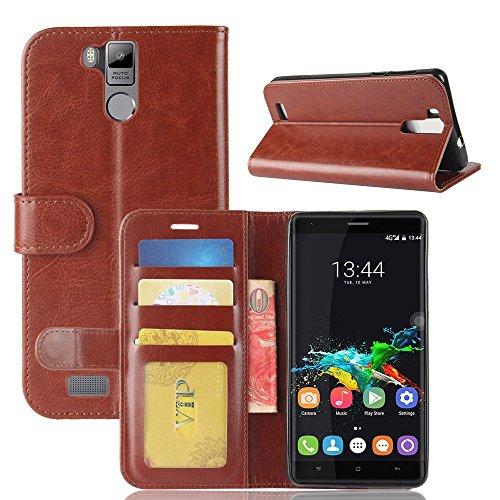 pinlu® Funda para Oukitel K6000 / K6000 Pro Moda Negocios Flip Phone Case Magnética Billetera de Cuero PU con Ranura para Tarjeta y Soporte Función Marrón