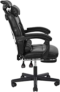 Back Massage Gaming Chair with Footrest,PC Computer Video Game Racing Gamer Chair High Back Reclining Executive Ergonomic Desk Office Chair with Headrest Lumbar Support Cushion (Black)