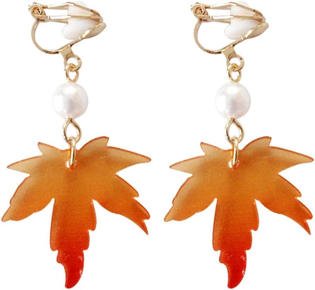 Fashion Women's Earrings,Acrylic Maple Leaf Long Dangle Hook Clip On Earrings Jewelry Gift - Short Type Clip Earrings