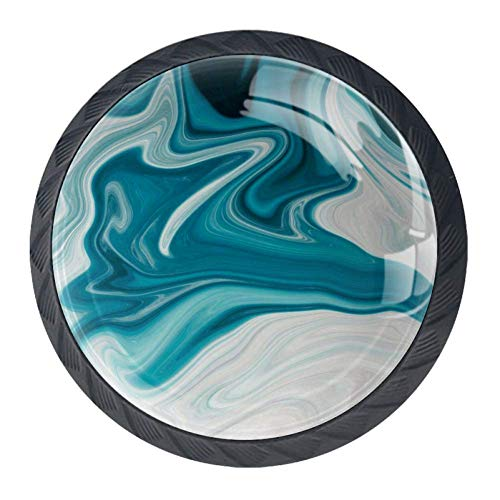 White and Teal Marble Cabinet Knobs 4 Pieces Drawer Kitchen Dresser Cupboard Wardrobe Unique Pulls Handles