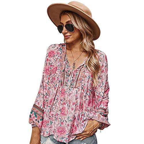 Camisa con Cuello en V para Mujer Blusa de Gran tamaño con Estampado Floral Blusa de Manga Larga Ligera Informal (Rosado, S)