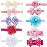 Hifot 10 Stück Baby Mädchen Haarband Haarreife Säugling Chiffon Blumen Kopfschmuck Kopfbedeckung Bogen Spitze Bow Lace Band