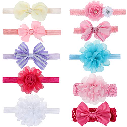 HIFOT diademas bebe cintas pelo 10 Piezas, flores Bowknot Banda Cabeza Accesorio Pelo niña, venda pelo Recién nacido fotografia prop