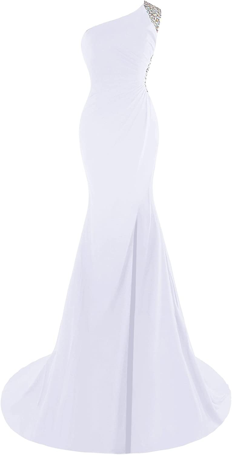 Bess Bridal Women's Crystals Mermaid One Shoulder Backless Prom Evening Dresses