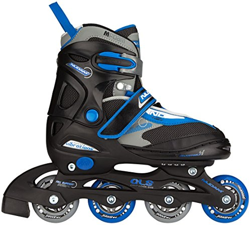Nijdam Junior Kinder Semi-Softboot Inlineskates Junior Verstellbar, Schwarz/Blau/Grau, 27-30