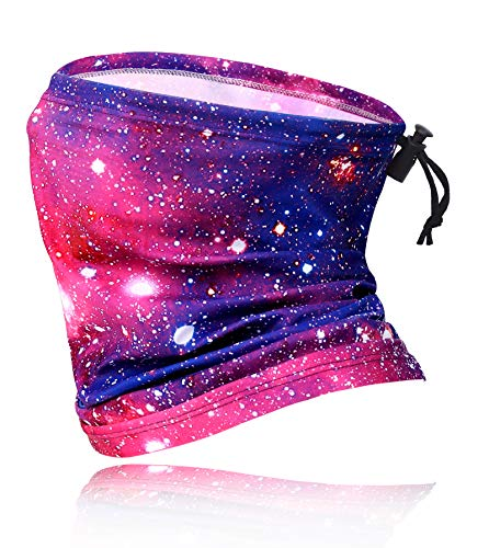 MOBUR Neck Gaiter Face Scarf Mask Bandana Dust Face Mask Headband with Adjustable Tie Behind Head Straps (Purple Galaxy)