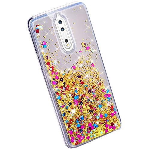 YSIMEE Compatibile con Cover Nokia 8,Custodie Glitter Bling Specchio Liquido Quicksand Gel Silicone TPU Shell Protettivo Ultra Sottile Antiurto Gomma Bumper Case,Giallo