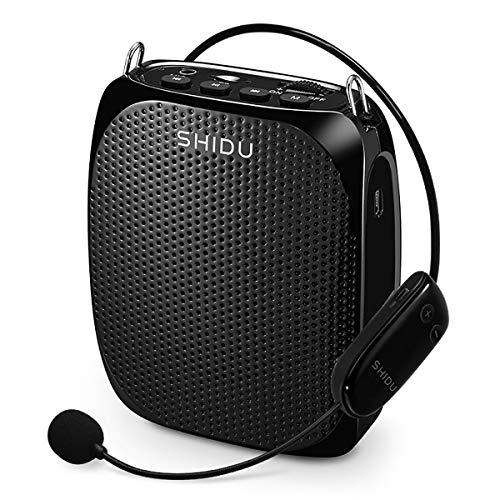 Drahtloser Sprachverstärker, SHIDU S615 Tragbarer Mini-Stimmverstärker Pa System mit Headset-Mikrofon 10W Wiederaufladbar Lautsprecher für Unterricht, Tour Guiding, Meeting, Training, Klassenzimmer