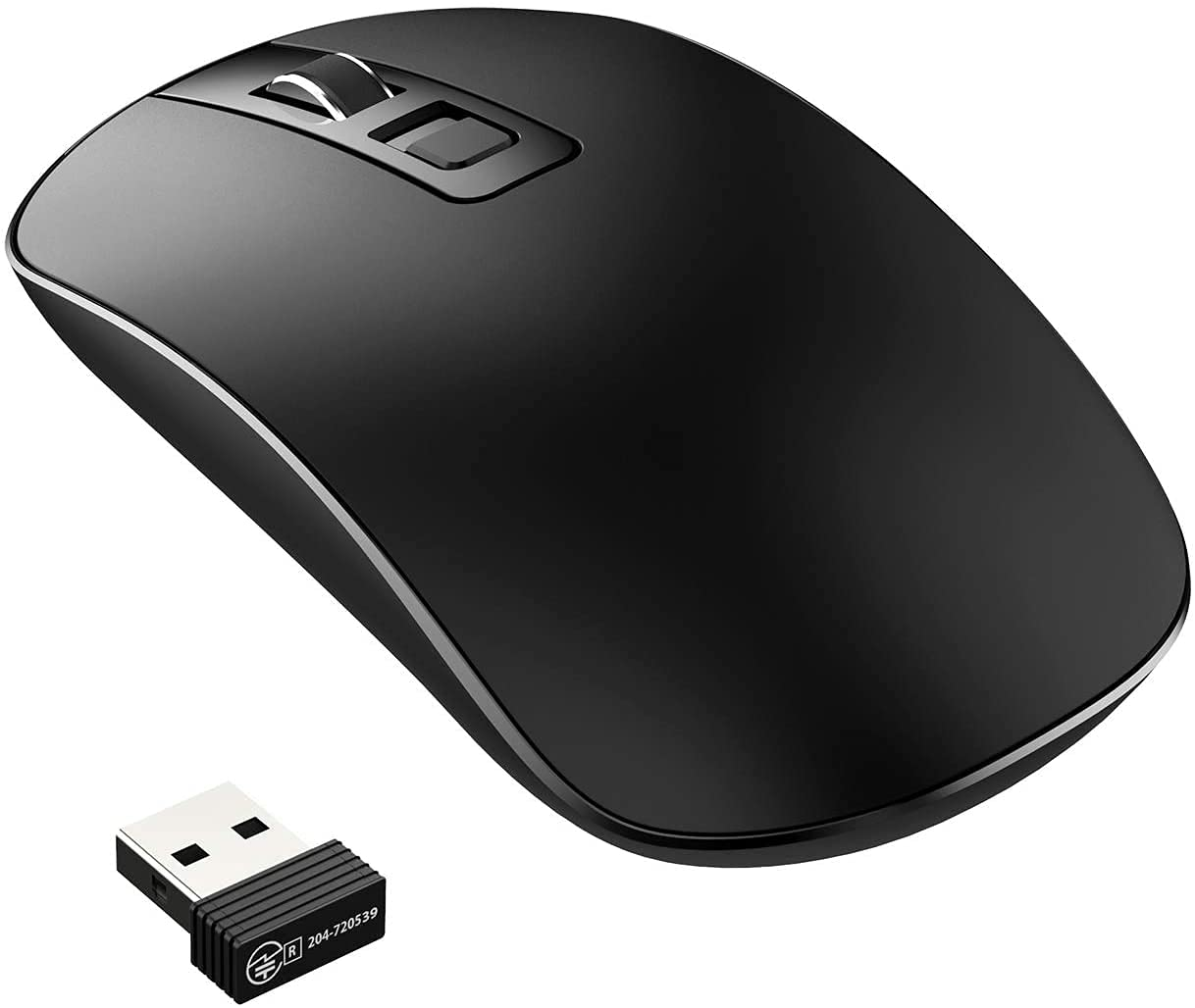 Epeios Wireless Mouse, 2.4G with USB Mini-Receiver, 1600 DPI Optical Tracking, Portable and Energy-Saving, Slim Wireless Mouse with Quiet Click for PC/Mac/Laptop - Black