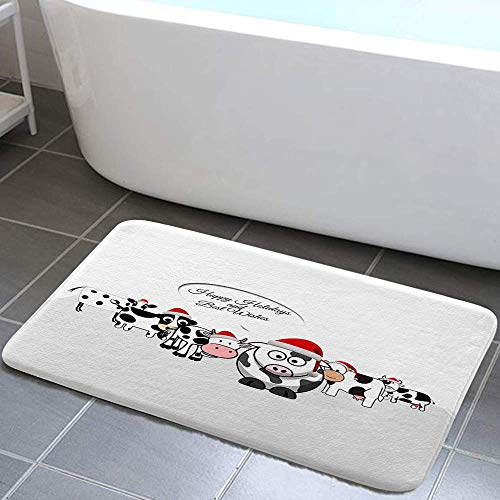 DYNH Holidays Bathroom Rug, Farm Animal Cattle Happy Christmas Holidays and Best Wishes Bath Mat, Flannel Non Slip Mat Rug 17X29IN Kitchen Rugs Shower Bathtub Doormats
