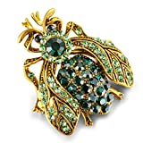 Zidzon Insect Bee Moth Dragonfly Crystal Rhinestone Enamel Multi Colored Fashion Jewelry Brooch Pin Gold Tone (Green, Alloy)