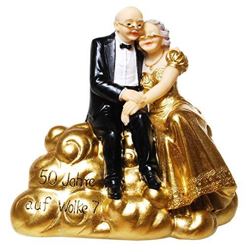 UDO Schmidt Gold Bruidspaar op wolk 7 Gouden Huwelijk 15,5 cm Spaarvarken