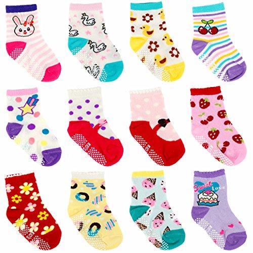 Ateid Bebés Niños Calcetines Antideslizantes de Algodón 1-3 Años Paquete de 12 Pares
